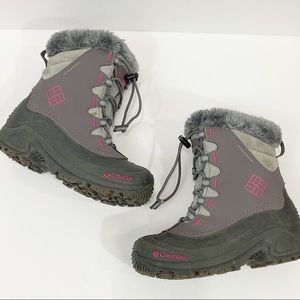 COLUMBIA Bugaboot Winter Snow Boots Gray Pink Sz 1